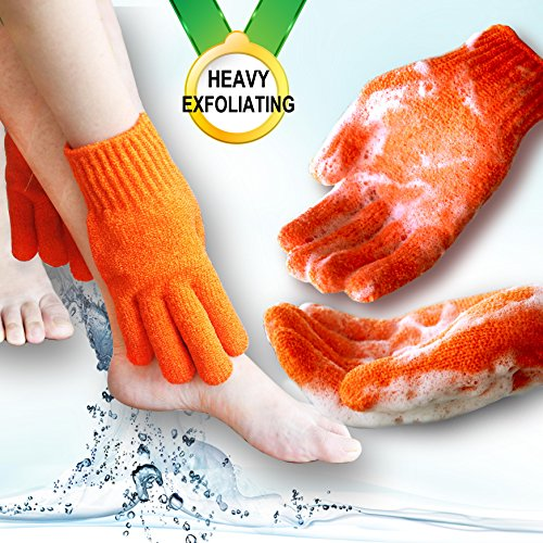 Exfoliating Hydro Gloves - Home Spa HEAVY Exfoliating gloves Hydro full body wash to cleanse Scrub glove - Shower & Bath - Deep clean Dead skin and Improves blood circultion (1 pair Plain, Orange)