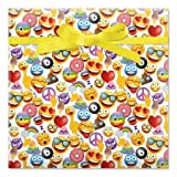 Emoji Jumbo Rolled Birthday Gift Wrap - 67 sq. ft. Heavyweight, Tear-Resistant and peek-Proof wrap, Kids Birthday Wrapping Paper