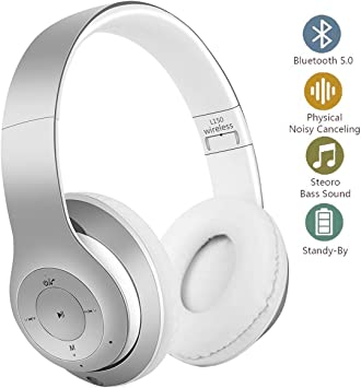 YiYunTE - Auriculares Bluetooth inalámbricos con cancelación de Ruido, estéreo, inalámbricos, Plegables, con micrófono Integrado para PC, TV, Smartphone, Ordenador portátil, Gaming Blanco: Amazon.es: Electrónica