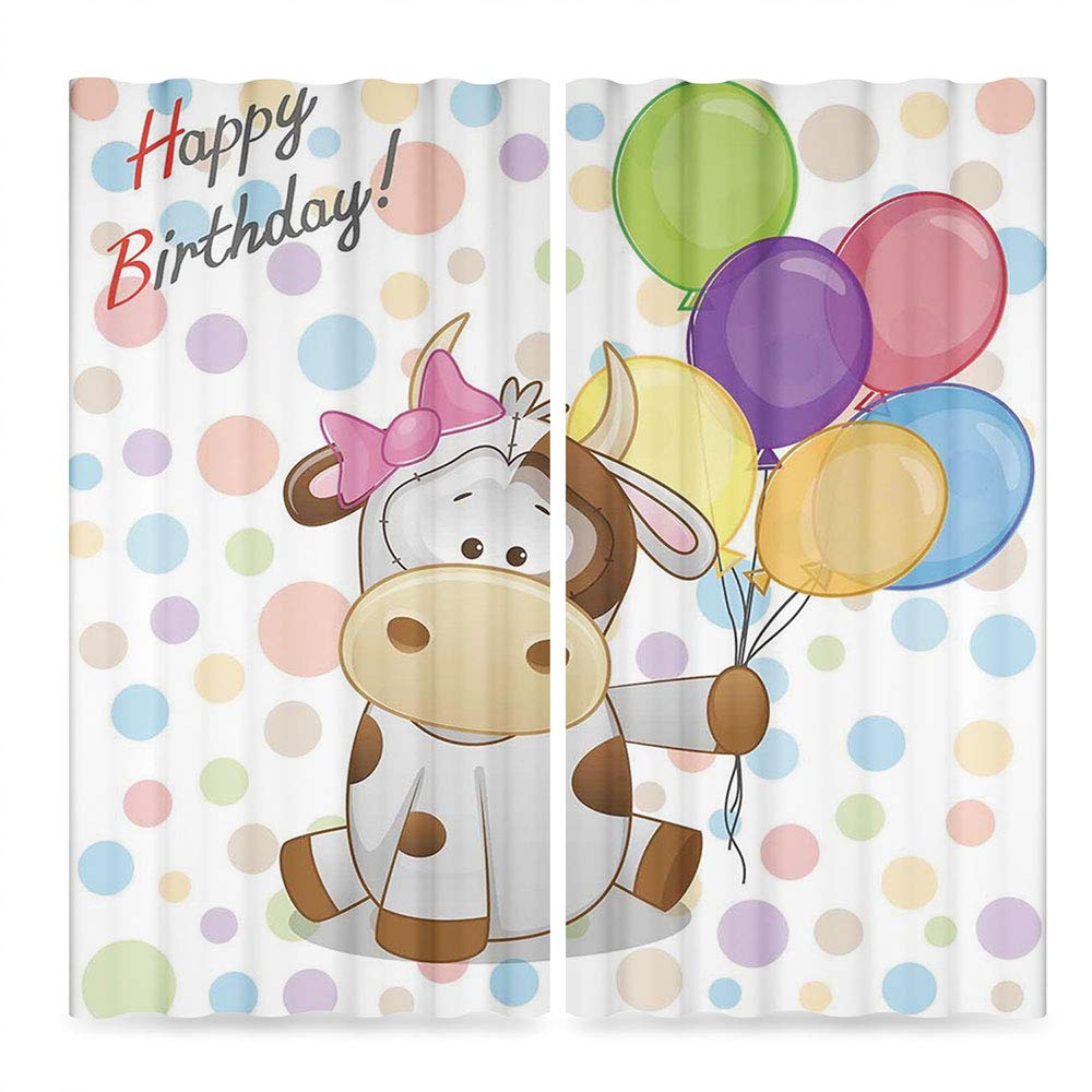 C COABALLA Birthday Decorations for Kids Window Curtains,Baby Cow Colorful Balloons on Abstract Polka Dot Bakcdrop,Living Room Bedroom Curtain, 2 Panel Set, 28W X 39L Inches
