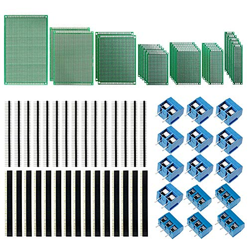 KeeYees 70pcs Universal PCB Board Kit, Including 7 Sizes Double Sided PCB Prototype Boards, 2.54mm 40 Pin Male Female Header Connector and 5mm 2 Pin / 3 Pin Screw Terminal Block