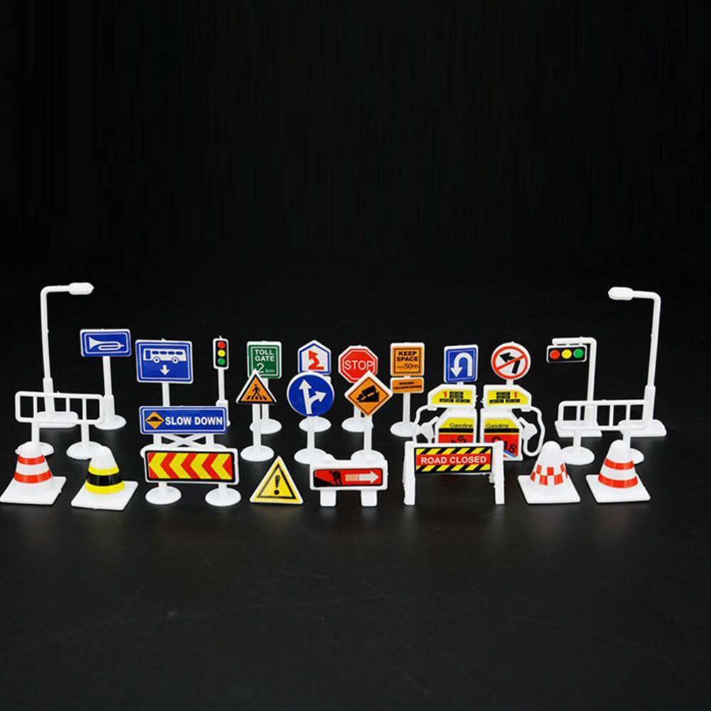 Wenini 28 Pcs Traffic Road Signs Educational Toys, Car Toy Accessories Traffic Road Signs Kids Children Play Learn Toy Game (A) by Wenini (Image #5)