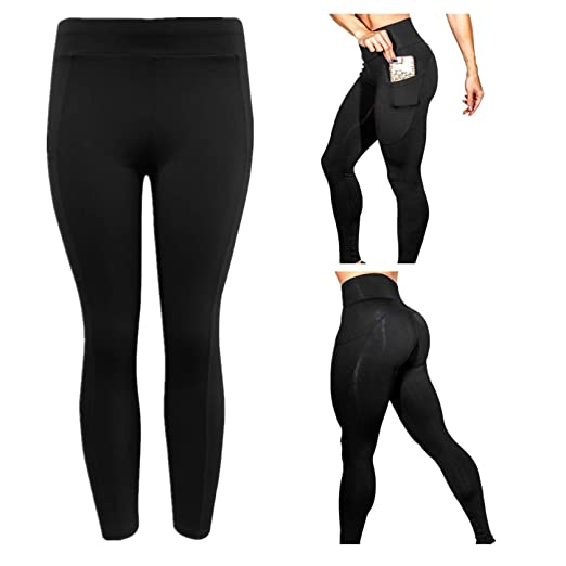 6a66539cc09 BSGSH Women High Waist Yoga Pants Tummy Control Workout Athletic Stretch  Leggings with Pocket (S