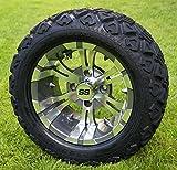 12'' VAMPIRE Gunmetal Golf Cart Wheels and 20x10-12 DOT All Terrain Golf Cart Tires - Set of 4 - NO LIFT REQUIRED (read description)