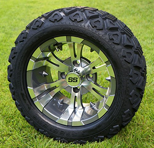 Golf Cart Wheels and 20x10-12 DOT All Terrain Golf Cart Tires - Set of 4 - NO LIFT REQUIRED (read description) ()