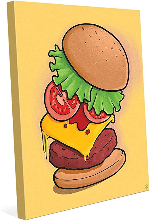 amazon com supreme burger on yellow cartoon drawing of cheeseburger for kitchen diner bar pub wall art print on canvas posters prints supreme burger on yellow cartoon drawing of cheeseburger for kitchen diner bar pub wall art print on canvas