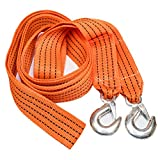 TukTek 13' Long Tow Strap with Safety Hooks 3200lb Emergency Towing Rope for Trucks & Cars