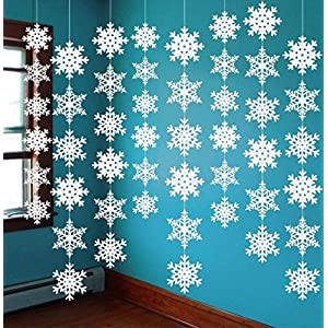 12PCS Snowflake Winter Wonderland Birthday Decorations – Christmas Hanging White Party Decor Supplies