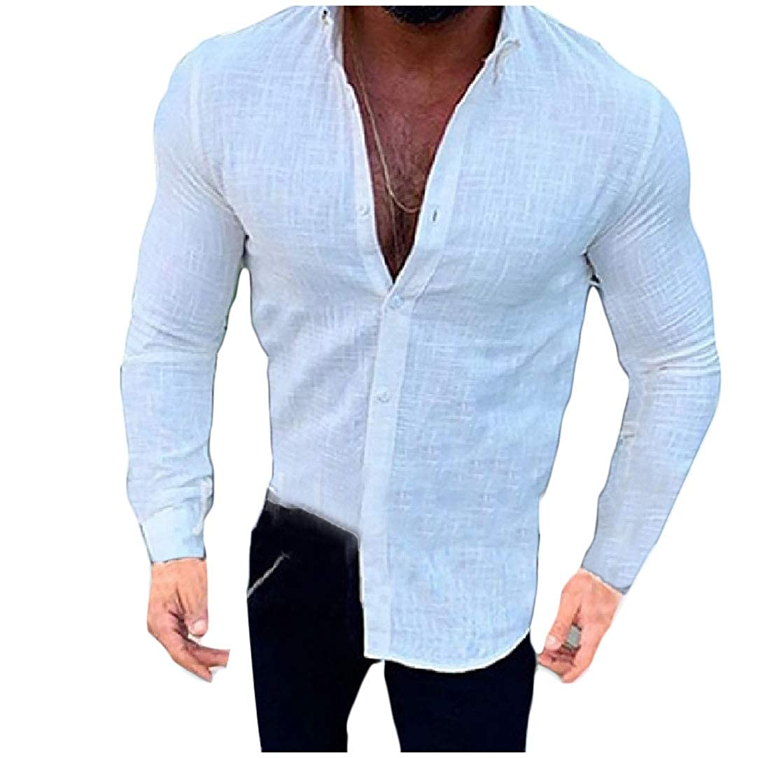 RSunshine Mens Short Sleeve Solid-Colored Casual Button Down Shirt