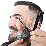 ALL in ONE Beard Grooming Kit-Transparent Beard Shaping Template Tool with TWO built in Combs,HOW-TO-USE Instruction Guide & a PREMIUM Black Straight Edge Razor For Precise Shave, Styling & Beard Care