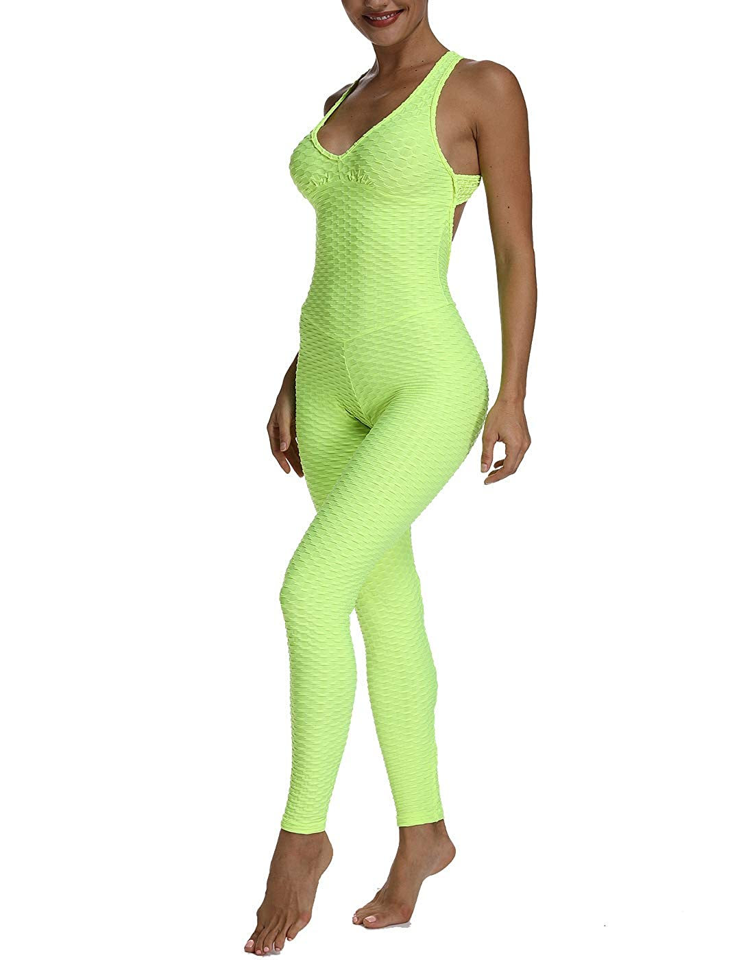 TRESXS Womens One Piece Texture Yoga Sport Gym Fitness Butt Lift Yoga Jumpsuit Sleeveless Backless Bandage Romper Playsuit