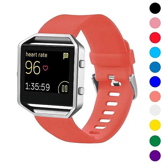 StrapsCo correa de reloj banda de silicona para Fitbit Blaze: Amazon.es: Relojes