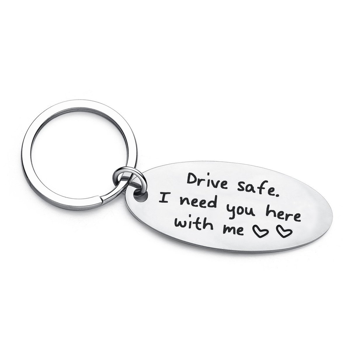 XYBAGS New Driver Gift for Her Or Him, Drive Safe I Need You Here with Me, Trucker Husband Boyfriend Keychain Gifts
