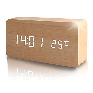 Reloj Digital Despertador Madera de Haya con Control de Sonido y LED Brillo de la Pantalla (Marrón): Amazon.es: Hogar