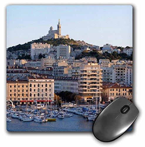 Vieux Port - 3dRose France, Marseille. Vieux-Port with Basilique Notre Dame de la Garde, Mouse Pad, 8