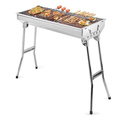 Uten Edelstahl BBQ Holzkohlegrill Smoker Grill klappbar tragbar für Outdoor Kochen Camping Wandern Picknick Rucksackreisen groß Silber
