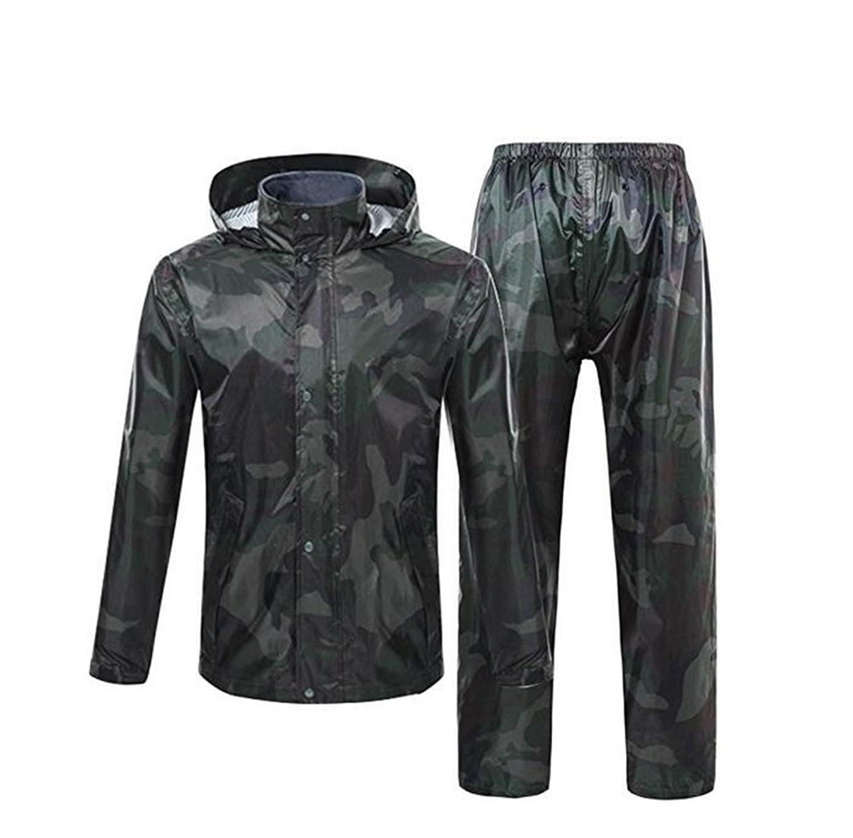 QZUnique Men's Women's Hooded Outdoor Ripstop Waterproof Packable Rain Jacket Pants Zipper Raincoat Set with Wind Shield