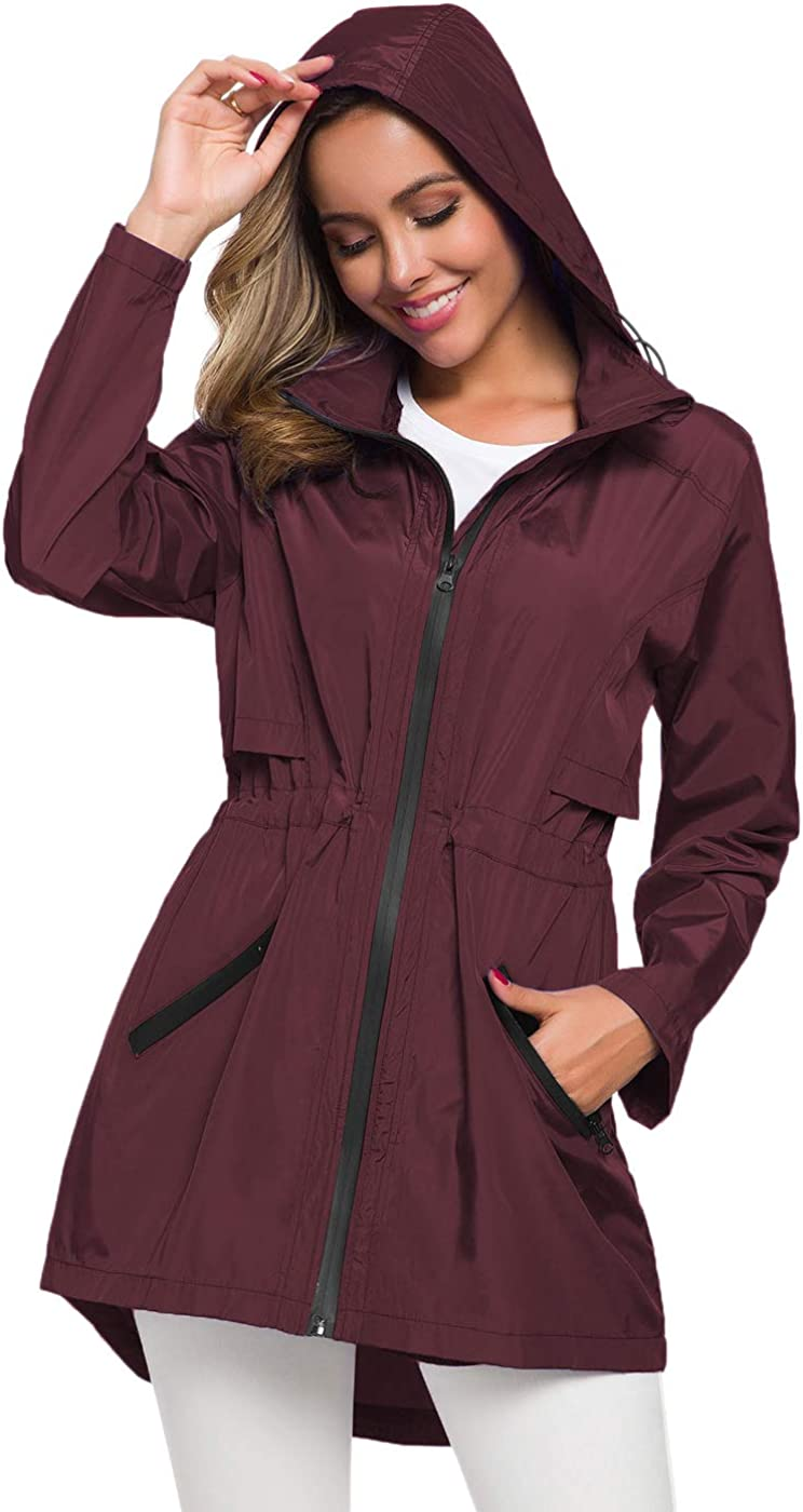 Avoogue Women's Long Raincoat with Hood Outdoor Lightweight Windbreaker Rain Jacket Waterproof