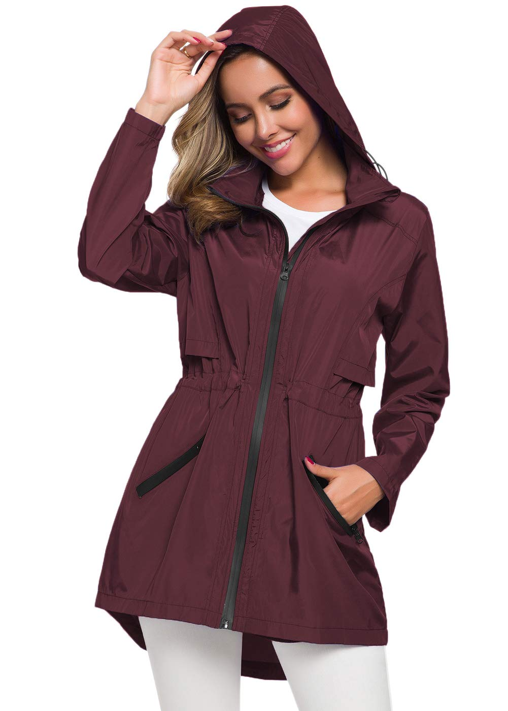 Avoogue Rain Jacket Women Waterproof with Hood Rain Coats for Travel Windbreaker Wine Red XXL by Avoogue