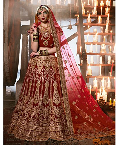PCC Womens Maroon Velvet Fabric Pretty Unstitched Lehenga Choli 83742