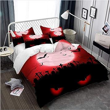 Hhlwl Halloween Bettwäsche Set Blut Mond Rote Augen Bettbezug Set