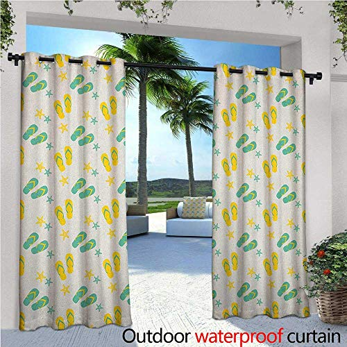 familytaste Geometric Outdoor Blackout Curtains Flip Flops and Starfishes Beach Elements Exotic Poolside Theme Pattern Outdoor Privacy Porch Curtains W120 x L108 Seafoam Yellow White
