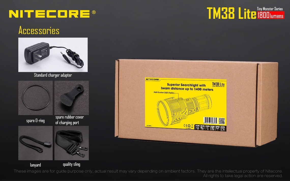Nitecore TM38 Lite CREE XHP35 HI D4 Long Throw LED Flashlight w/FREE Nitecore NU05 Kit by Nitecore (Image #1)