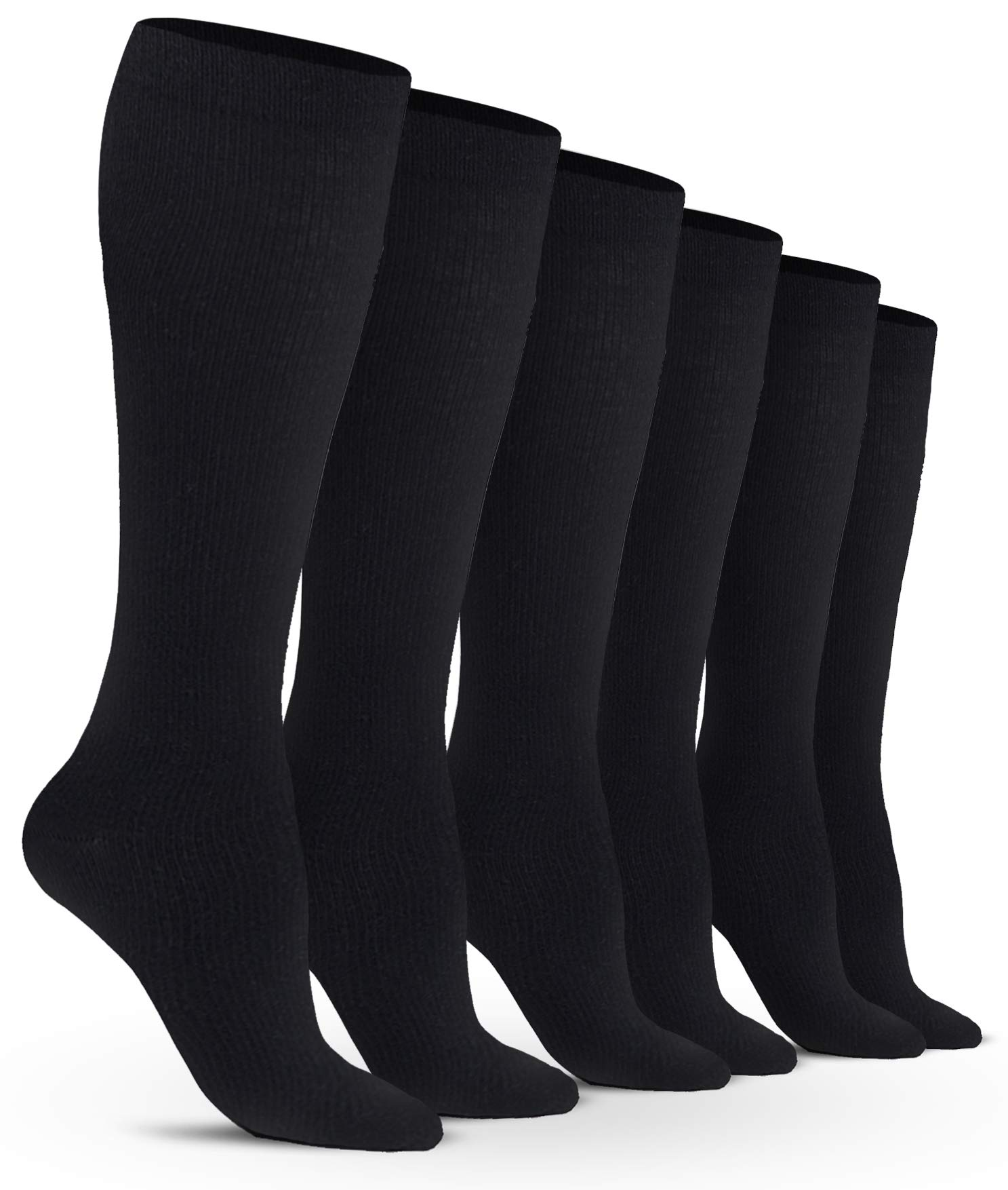 Women's Compression Socks (6 Pack) - S/M - Black - Graduated Muscle Support, Relief and Recovery. Great for Running, Medical, Athletic, Diabetic, Travel, Pregnancy, Nursing (8-15 mmHg)