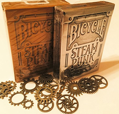 "The ""PUNKED"" 2 Pack, Bronze and Steel, Steam Punk Card Deck (with/punk cogs) 3"
