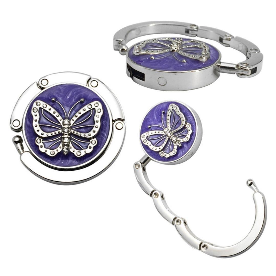 Sinwo Mini Butterfly Beetle Hook Folding Hanger Holder Table Hook for Purse Handbag Utility (B)