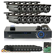 GW Security 1080P HD-CVI 16 Channel Video Security Camera System - 12 x 2MP Weatherproof 2.8-12mm Varifocal Zoom Bullet Cameras, 64-IR LED 180ft Night Vision, Long Transmit Range (984ft), 4TB HDD