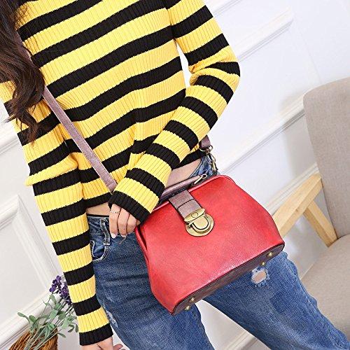 Bolso Totes Diagonal De Package Top Bag Satchel La Mujer Handle Red Retro Oficina 1w1XqrP