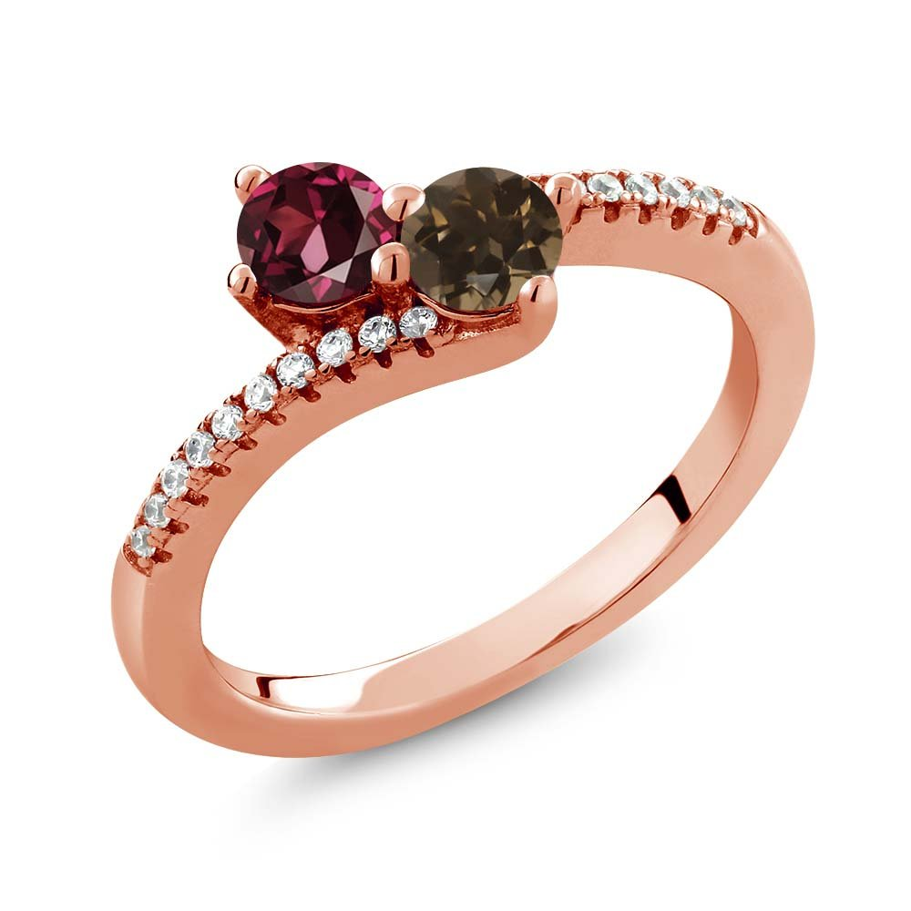 Gem Stone King 0.87 Ct Rhodolite Garnet Brown Smoky Quartz 18K Rose Gold Plated Silver Bypass Ring