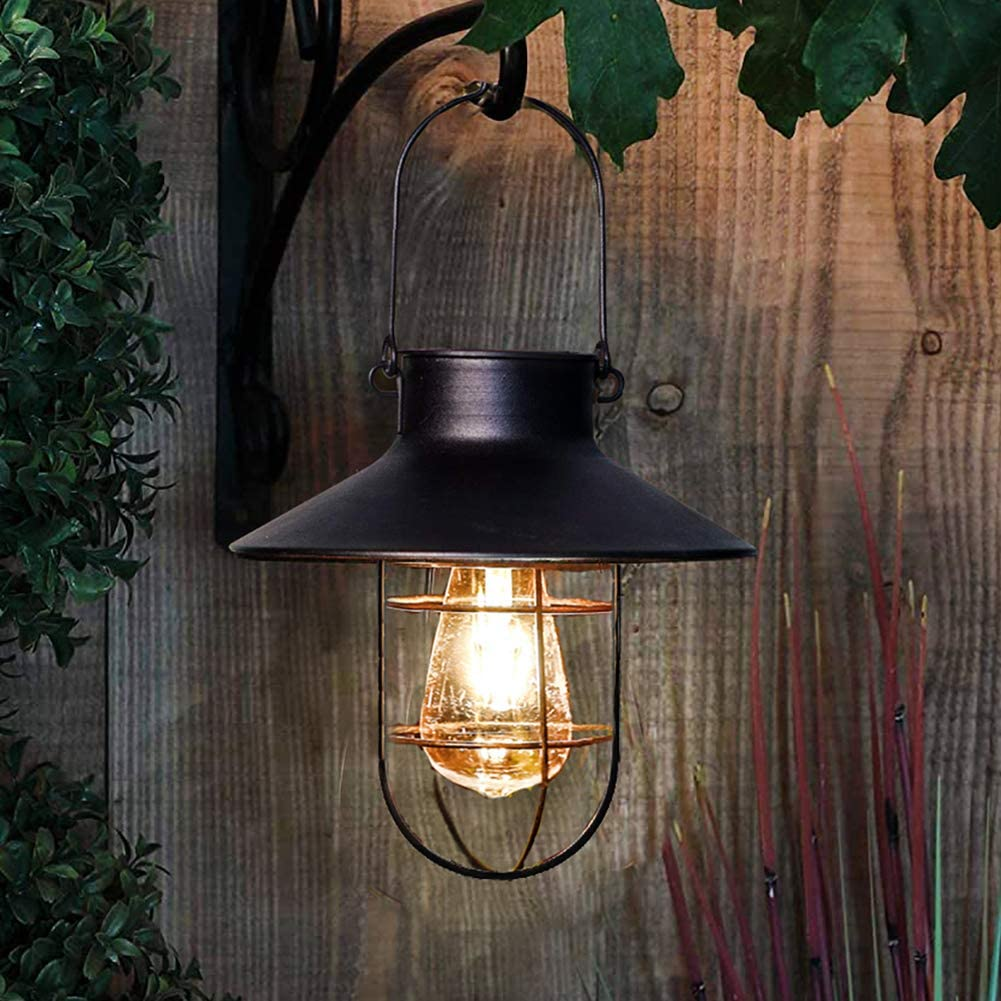 pearlstar Solar Lantern Outdoor Hanging Light Vintage Solar Lamp with Warm White Edison Bulb Design for Garden Yard Patio Decor(Black)