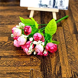 Erovy - 15 Heads QQ Rose Buds Artificial Flowers Artificial Simulation Flowers Home Party Wedding Decoration Plant Potted Plants 99
