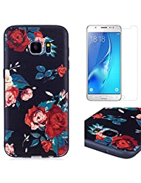 for Samsung Galaxy S7 Edge Case and Screen Protector,OYIME Luxury [Red Rose] Relief Pattern Design Black Silicone Rubber Ultra Thin Slim Fit Bumper Drop Protection Anti-Scratch Protective Back Cover