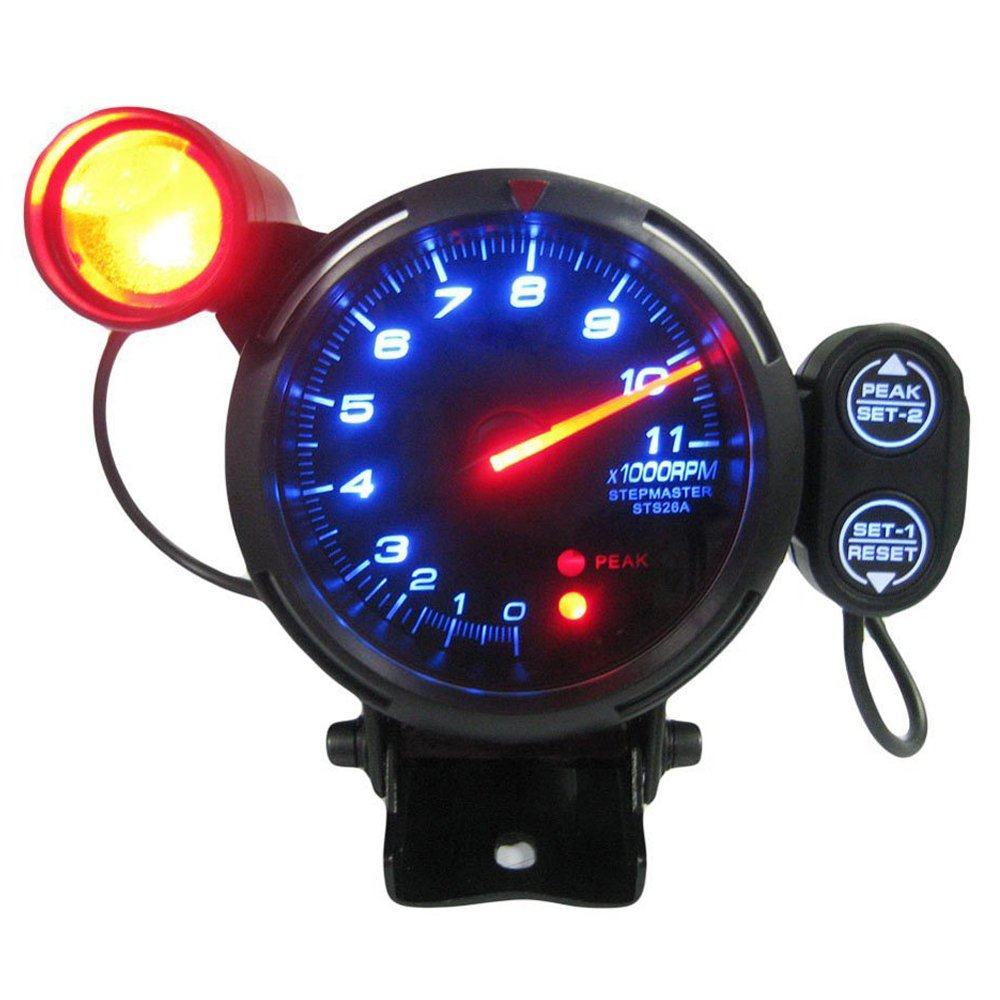 SODIAL(R) Automotive Car 3.5 Inches 0-11000 RPM Tachometer Gauge Kit Blue LED Auto Meter with Adjustable Shift Light & Stepping Motor - Black 091595