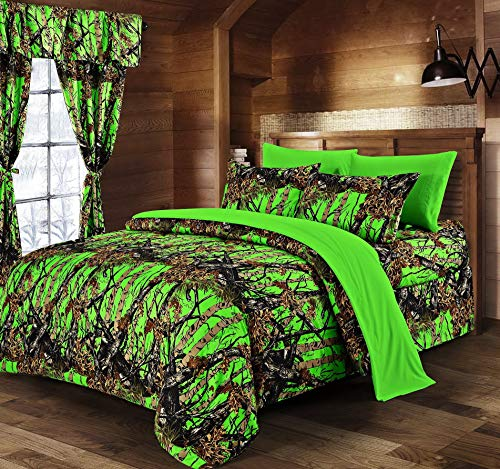 Hemau Premium New Soft Biohazard Green Camouflage Full 8pc Premium Luxury Comforter, Sheet, Pillowcases, and Bed Skirt Set Camo Bedding Set for Hunters Teens Boys and Girls | Style 503193836