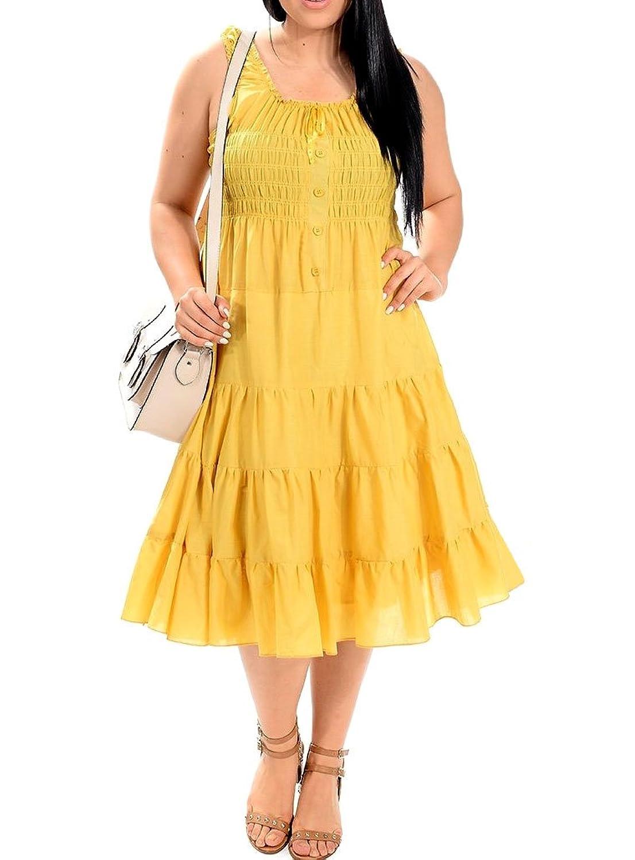 8520 - Cotton Smocked Tiers Boho Sun Summer Beach Vacation Dress