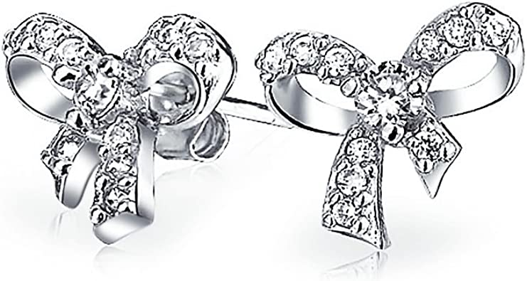 So Chic Jewels Childrens 925 Sterling Silver Bow Ear Studs with Crystal