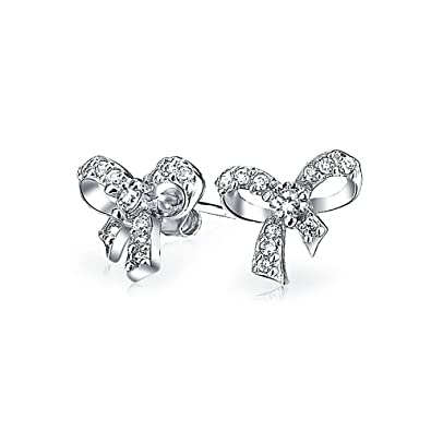 a3a96865d Image Unavailable. Image not available for. Color: Cubic Zirconia Pave CZ  Ribbon Bow Colorless Stud Earrings For Women ...