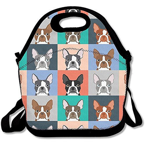 Starowas Boston Terriers Tile Bulldaog Pattern Multifunctional Lunch Tote Bag Carry Box Boston Tile Box
