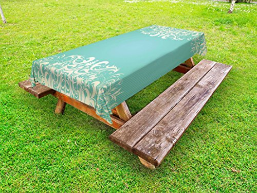 (Ambesonne Vintage Outdoor Tablecloth, Old Fashioned Frame with Grungy Floral Curlicues Baroque Revival Motifs, Decorative Washable Picnic Table Cloth, 58
