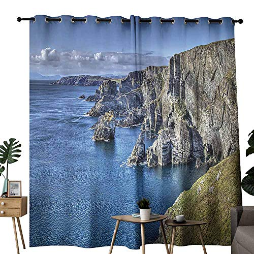 duommhome Room Decorations Collection Bedroom Curtain Atlantic Coast Cliffs at Mizen Head County Cork Ireland Ocean Coastal Scenery Image Noise Reduction soundproof Curtain W72 xL84 Blue (Best Coast Led Shower Heads)
