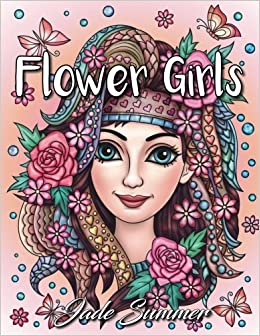 flower girls an adult coloring book with beautiful women floral hair designs and inspirational patterns for relaxation and stress relief large print - Flower Girl Coloring Book
