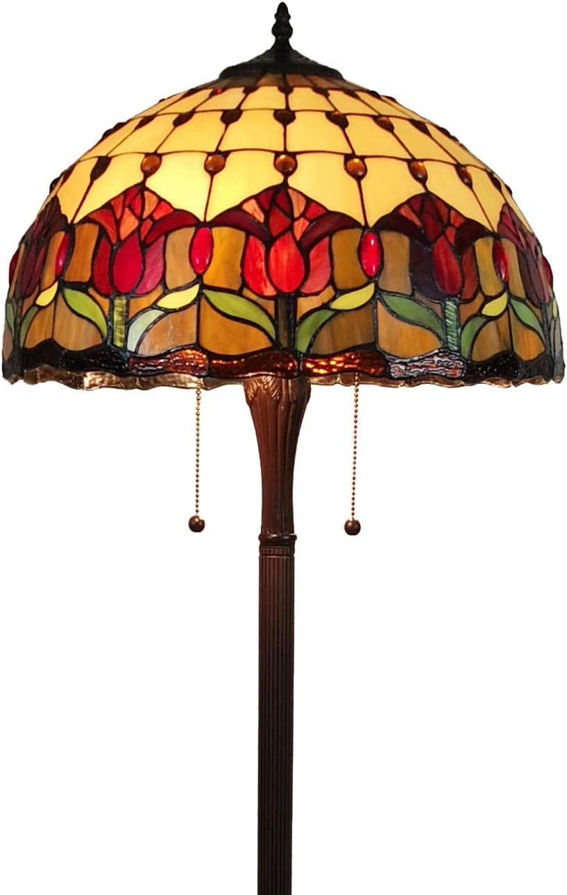 Tiffany Style Standing Floor Lamp 62 Tall Stained Glass Brown Red Green Flower Tulip Antique Vintage Light Decor Bedroom Living Room Reading Gift AM002FL18B Amora Lighting