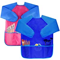 Bassion Pack of 2 Kids Art Smocks, Children Waterproof Artist Painting Aprons Long Sleeve with 3 Pockets for Age 2-6 Years (D-2 Pack (Blue & Rosered)) Gifts