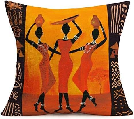 Amazon Com Fukeen African Women Beauty Pillow Cases Home Sofa Decor Vintage Colorful Ethnic Tribe Lady Throw Pillow Cushion Covers Square Cotton Linen 18 X 18 Inches Pillow Shams For Queen Home