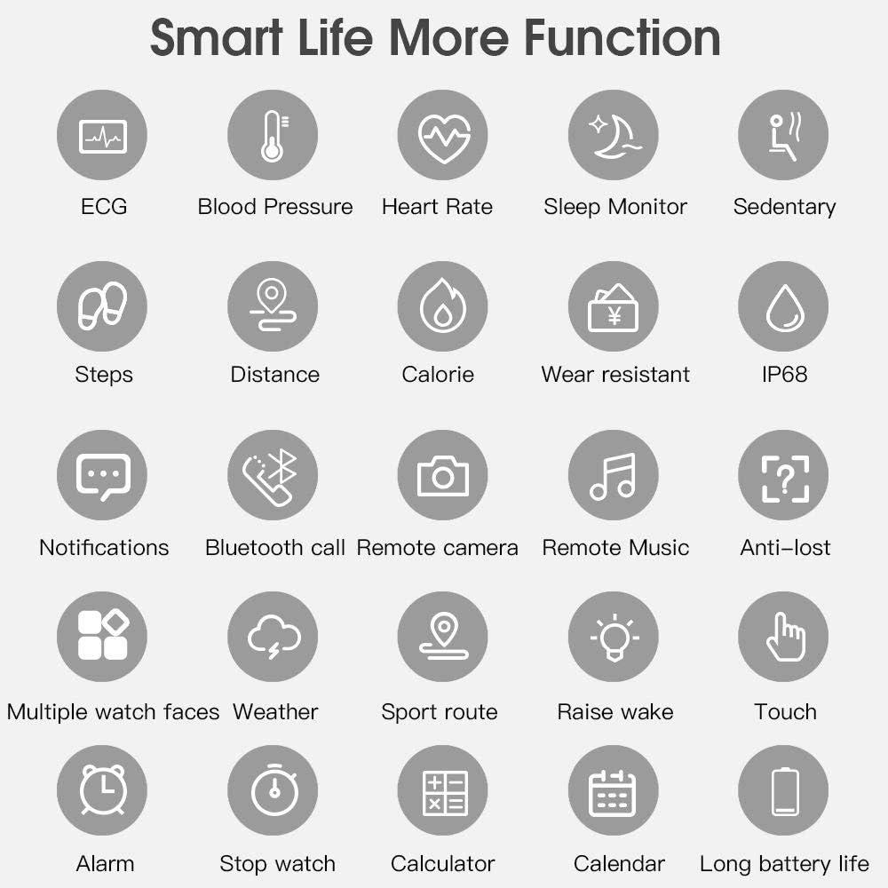 Montre Connectée,Montre Intelligente Femmes Homme Smartwatch pour Téléphones Android iOS avec Moniteur de Sommeil Fréquence Cardiaque Toute La Journée ECG + PPG Silver Steel Belt