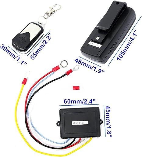 Perfk 12v Drahtlose Elektrische Seilwinde Motorwinde Fernbedienung Türöffner Fernsteuerung Kit Für Fahrzeuge Atv Utv Suv Anhänger Auto